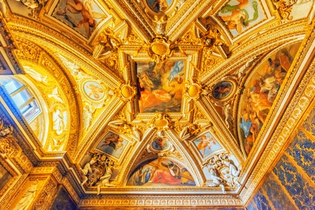 VATICAN-CITY, VATICAN- MAY 09, 2017: Inside the Vatican Museum, one of the largest museums in the world, Vatican Galleries frescoes. Italy.