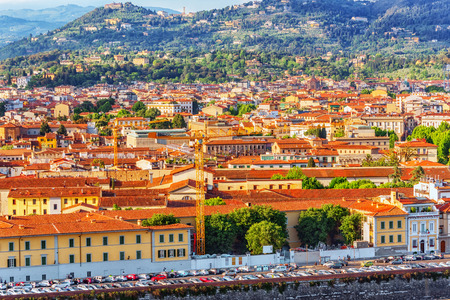 Beautiful landscape above, panorama on historical view of the Florence from  Piazzale Michelangelo point .Italy. Stock Photo
