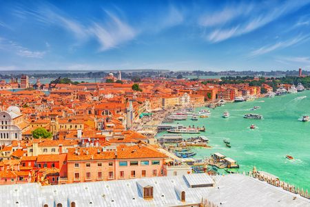 st  marks square: Panoramic view of Venice from the Campanile tower of St. Marks Cathedral (Campanile di San Marco)- seafront promenade near St. Marks Square. Italy.