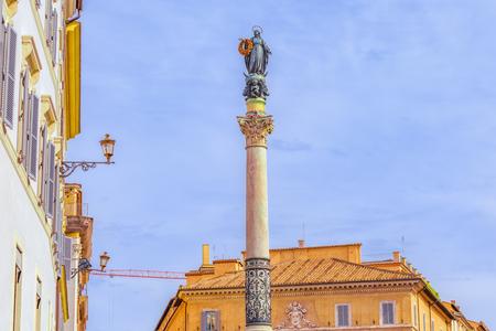Column of the Immaculate Conception (Colonna dellImmacolata) near Spanish Steps (Scalinata di Trinita dei Monti), (Piazza della Trinita dei Monti).