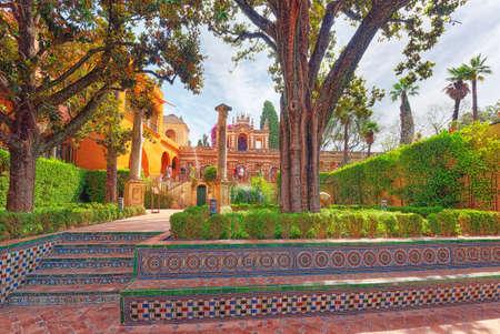 Seville, Spain - June 09, 2017 : Panoramic view of inner patio - Troy Garden ( Jardin de Troya)  of the Royal Alcazar in Seville.