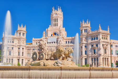 Fountain of the Goddess Cibeles (Fuente de La Diosa Cibeles) and Cibeles Center or  Palace of Communication, Culture and Citizenship Centre in the Cibeles Square of Madrid (Plaza Cibeles).
