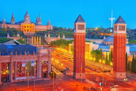 Barcelona, Spain - June 12, 2017: Panorama Towers Venetian and Square of Spain (Placa De Espanya),in Barcelona - capital of the autonomy of Catalonia. Spain. Editorial