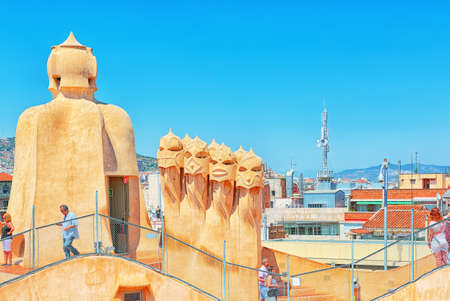 Barcelona, Spain - June 12, 2017 : Panorama of the center of Barcelona, from roof Casa Mila. Barcelona the capital of the Autonomy of Catalonia. Spain.