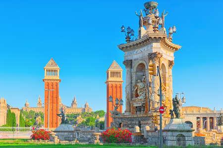 Panorama  Square of Spain (Placa De Espanya),in Barcelona - capital of the autonomy of Catalonia. Spain. Editorial