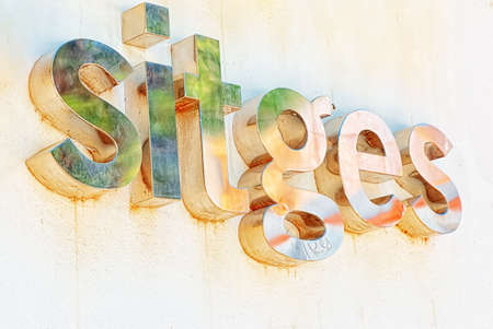 Signboard with the name Sitges. A small town in the suburbs of Barcelona. Spain. Stock Photo