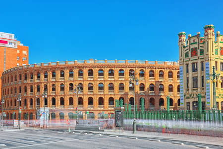 Valencia, Spain - June 13, 2017 : Bullring of Valencia (Plaza de Bous de Valencia) and Bullfighting Museum of Valencia (Museo Taurino de Valencia) near Valencia Nord Railways station. Editorial