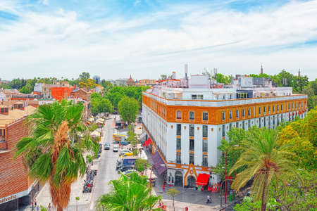 Seville, Spain - June 09, 2017 :Panoramic view of the city of Seville from the observation platform Tower of Gold (Torre del Oro). Spain.