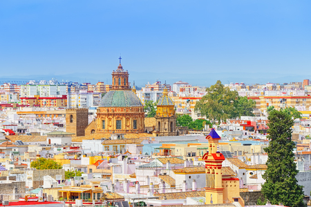 Panoramic view of the city of Seville from the observation platform Metropol Parasol, locally also known as Las Setas. Spain.