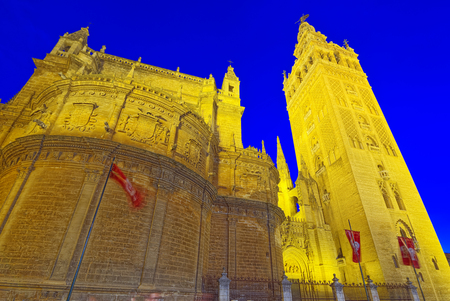 Cathedral of Saint Mary of the See (Catedral de Santa Maria de la Sede), better known as Seville Cathedral, is a Roman Catholic cathedral in Seville Stock Photo