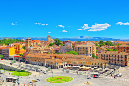 Segovia, Spain - June 07, 2017 : Segovia have is a Roman aqueduct in Segovia. In 1985 Segovia and its Aqueduct were declared World Heritage Sites by UNESCO. Editorial