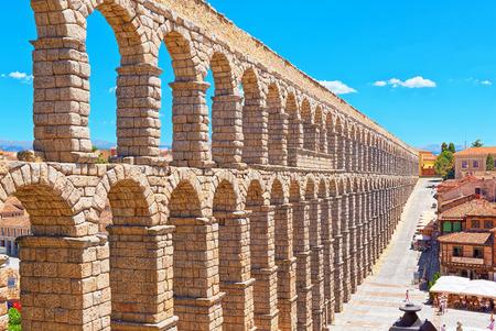 Segovia, Spain - June 07, 2017 :Aqueduct of Segovia (or more precisely, the aqueduct bridge) is a Roman aqueduct in Segovia.