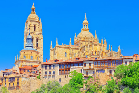 Panoramic landscape at the ancient city and cathedral of Segovia, near Madrid. In 1985 the old city of Segovia and its Aqueduct were declared World Heritage Sites by UNESCO.