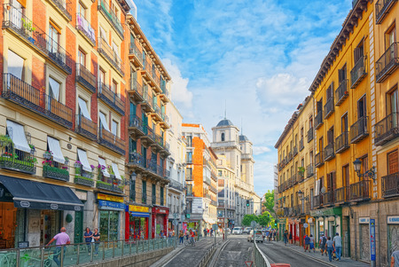 Madrid, Spain- June 04, 2017: Street of Madrid in the downtown of the city with tourists and people. Madrid-capital of Spain and one of the most beautiful cities in the world. Editorial