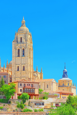 Panoramic landscape at the ancient city and cathedral of Segovia, near Madrid. Stock Photo
