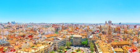 Valencia, Spain - June 13, 2017 : View above on square, Plaza of the Queen  (Placa de la Reina) in historical part of the city. Spain.