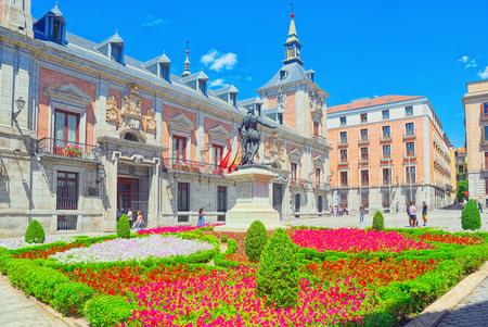 Square of Villa (Plaza de la Villa)- home to Casa de la Villa, the former Town Hall with people and tourists