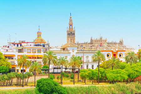 View on downtown of Seville and Guadalquivir River Promenade. Spain.