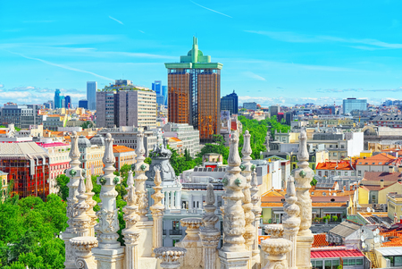 Panoramic view from above on the capital of Spain- the city of Madrid. One of the most beautiful cities in the world. Archivio Fotografico