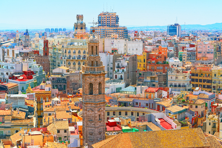 Panoramic view on squares, buildings, streets of Valencia,on the east coast of Spain, is the capital of the autonomous community of Valencia and the third-largest city in Spain after Madrid and Barcelona.