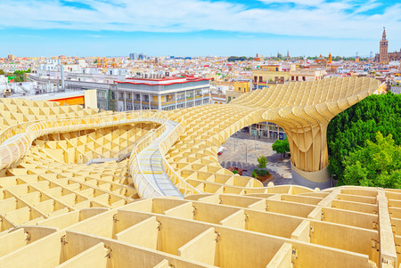 Panoramic view of the city of Seville from the observation platform Metropol Parasol, locally also known as Las Setas