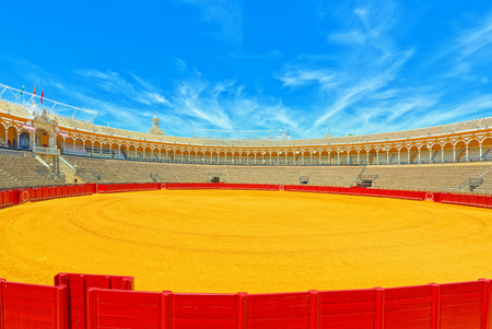 Seville, Spain- June 08, 2017 : Inside view of Square of bulls Royal Maestranza of Cavalry in Seville.(Plaza de toros de la Real Maestranza de Caballeria de Sevilla). Spain.