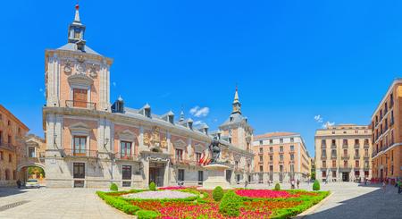 Madrid, Spain- June 06, 2017 : Square of Villa (Plaza de la Villa)- home to Casa de la Villa, the former Town Hall with people and tourists.