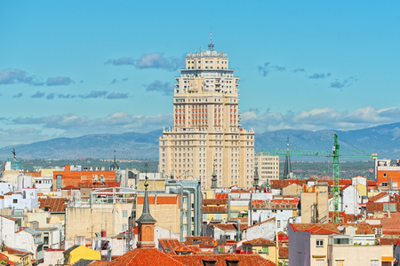 Panoramic view from above on the capital of Spain- the city of Madrid. One of the most beautiful cities in the world. Stock Photo