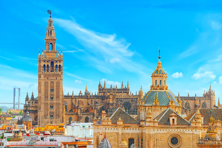 Seville Cathedral (Catedral de Santa Maria de la Sede de Sevilla) view from the observation platform Metropol Parasol, locally also known as Las Setas. Spain.
