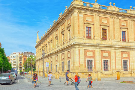 Seville, Spain - June 09, 2017 : General Archive of the Indies (Archivo General de Indias), housed in the ancient merchants exchange of Seville, Spain, the Casa Lonja de Mercaderes. Éditoriale