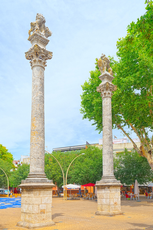Seville, Spain - June 08, 2017 : Column Alameda de Hercules in downtown of the city Seville - is the largest city of the autonomous community of Andalusia, Spain. Editorial