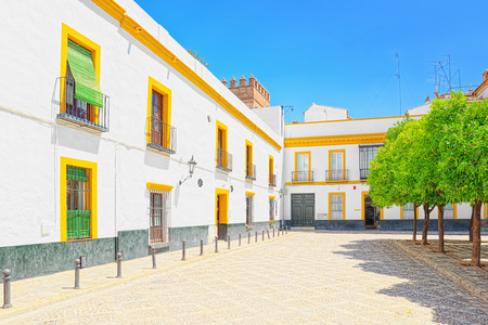 Streets in downtown of the city Seville - is the capital and largest city of the autonomous community of Andalusia and the province of Seville, Spain.