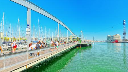 Barcelona, Spain - June 12, 2017 : Panorama on Barcelona Seaport and Maremagnum Mobile Bridge (Puente Movil Maremagnum). Barcelona. Catalonia.