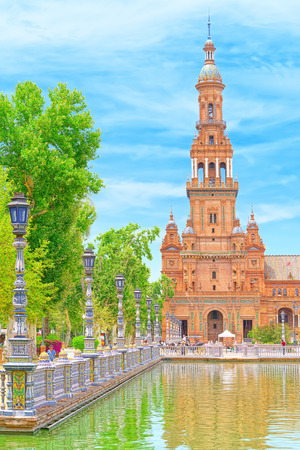 Seville, Slain- June 09, 2017 : Spain Square (Plaza de Espana) is a square in the Maria Luisa Park, in Seville, Spain, built in 1928 for the Ibero-American Exposition of 1929.