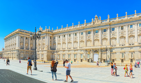 Madrid, Spain - June 05,2017 : Royal Palace of Madrid ( Palacio Real de Madrid) is the official residence of the Spanish Royal Family at the city of Madrid, but it is only used for state ceremonies. Editoriali