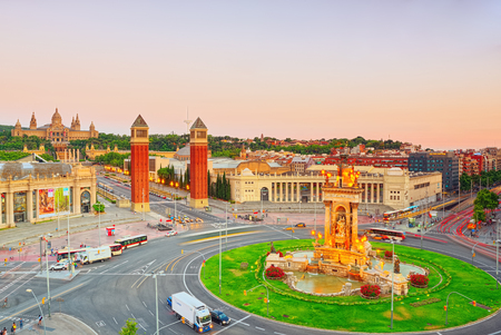 Barcelona, Spain - June 12, 2017: Panorama Towers Venetian and Square of Spain (Placa De Espanya),in Barcelona - capital of the autonomy of Catalonia. Spain. Redakční