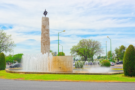 Seville, Spain - June 09, 2017 :  Fountain of the Hernan Cortes  (Fuente de Hernan Cortes) in the Clorieta los Marineros street. Spain. Editorial
