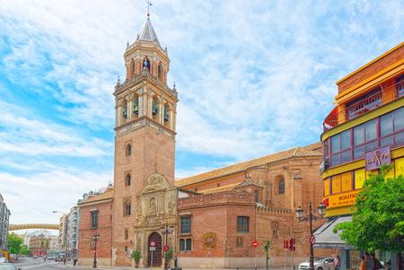 Seville, Spain - June 08, 2017 : St. Peters Church (Iglesia de San Pedro ) near Metropol Parasol, in the old quarter of Seville, Spain.