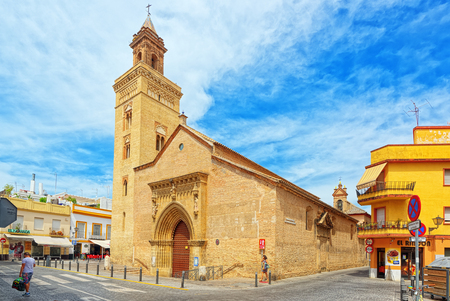 Seville, Spain - June 08,2017: Iglesia de San Marcos (Church of San Marcos) on St. Marks Square (Plaza San Marcos) in downtown of the city Seville. Spain.
