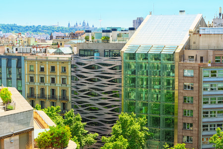 Panorama of the center of Barcelona, the capital of the Autonomy of Catalonia. Spain.