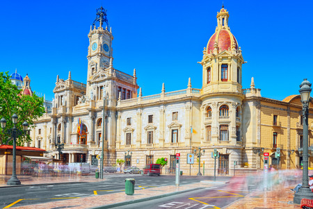 Valencia, Spain - June 13, 2017 : Modernism Plaza of the City Hall of Valencia, Town hall Square (Modernisme Plaza of the City Hall of Valencia Placa de l Ajuntament).