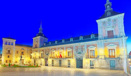 Square of Villa (Plaza de la Villa)- home to Casa de la Villa, the former Town Hall at the night time. Madrid. Spain. Editorial