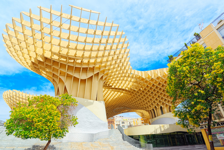 Seville, Spain - June 08, 2017 : Metropol Parasol is a wooden structure located at La Encarnacion square, in the old quarter of Seville, Spain. It was designed by the German architect Jurgen Mayer and completed in April 2011. Editorial