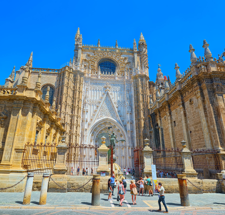 Seville, Spain- June 08, 2017 : Cathedral of Saint Mary of the See (Catedral de Santa Maria de la Sede), better known as Seville Cathedral, is a Roman Catholic cathedral in Seville.