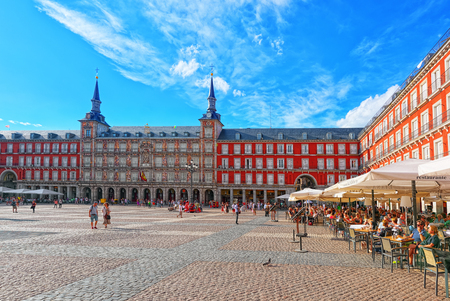 Madrid, Spain- June 04, 2017: Tourists on Plaza Mayor. Plaza Mayor - one of central squares of the Spanish capital. Located from another famous plaza- Puerta del Sol.