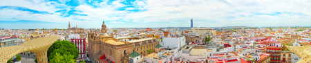 Seville, Spain - June 08, 2017 : Panoramic view of the city of Seville from the observation platform Metropol Parasol, locally also known as Las Setas. Spain.