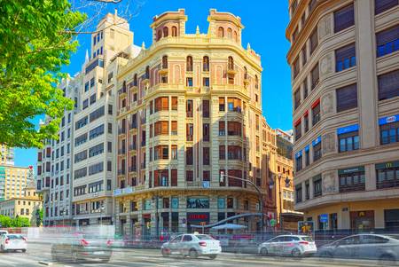 Valencia, Spain - June 13, 2017 : City view street of the  of Valencia, third city by population in  Spain.