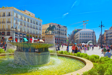 Madrid, Spain - June 06, 2017 : Big beautiful Square Puerta Del Sol in Madrid, with tourists and people on it.