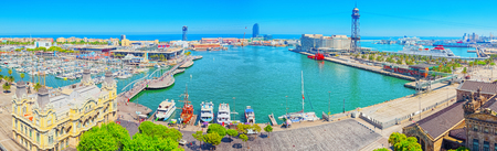 Barcelona, Spain - June 12, 2017 : Barcelona- capital of the autonomy of Catalonia. Panorama from the monument to Christopher Columbus on the Barcelona Sea Port. Spain.
