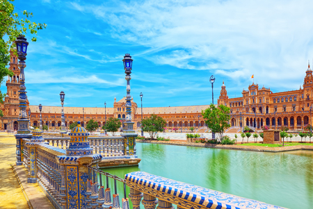 Spain Square (Plaza de Espana) is a square in the Maria Luisa Park, in Seville, Spain, built in 1928 for the Ibero-American Exposition of 1929.